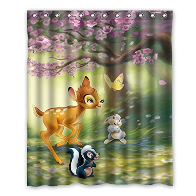 Aplysia Deer Bambi Play In The Forest Fabric Bathroom Accessories Shower Curtain Christmas Decorations For Home