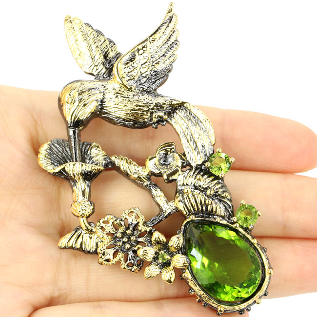 Sublime Antique Long Big Songbird Green Peridot 925 Black Gold Silver Pendant 77x58mm