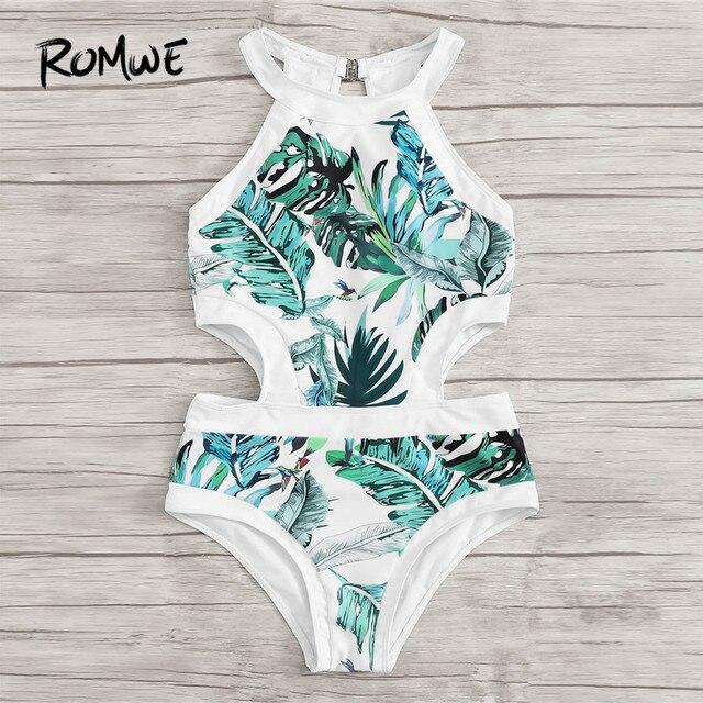 Romwe Спорт джунгли лист Монокини купальные костюмы с вырезами сбоку сдельная пляжная одежда купальник женский летний сексуальный купальный ... 4