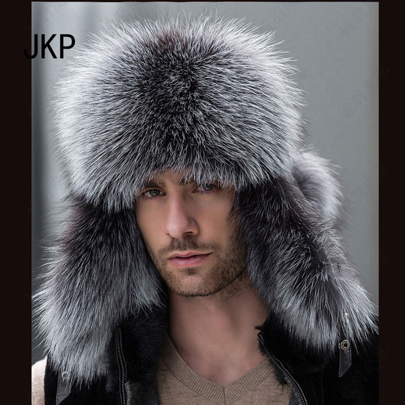 cd6dac015 Hot Sale] Star Fur 2018 Genuine Silver Fox Fur Hats Men Real Raccoon ...