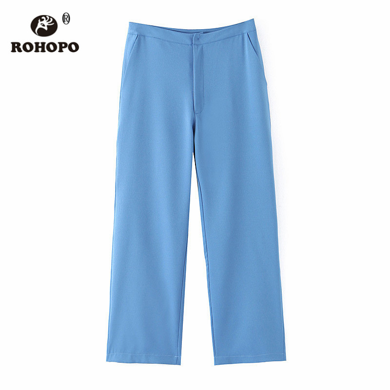ROHOPO EU Size Sky Blue Women Straight Pant Office Ladies Solid Ankle Length Casual Trousers #BM2214