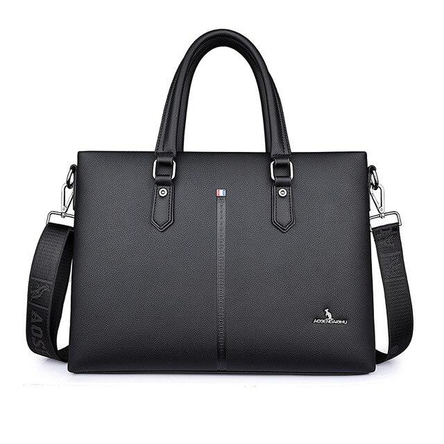 Brand Genuine Leather Business Briefcase Laptop Handbag Men Shoulder Messenger Bag Briefcase High Capacity Crossbody Travel Bags