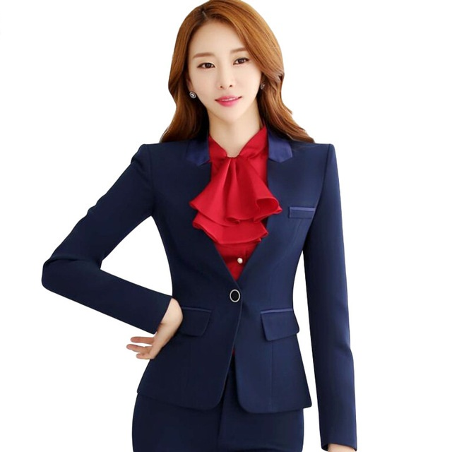 Formal Office Lady Blazers Women Black Blue Slim Long Sleeve Suit Casual Autumn Winter Coats Fashion Work Suits Woman Tops Pz618 Back To Search Resultswomen's Clothing Suits & Sets