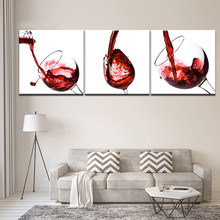 Restaurant Home Decoration Art Painting 3 Set Modern Style Wall Print HD Canvas Modular Pictures Red Wine Glass Poster Framework(China)