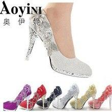 Свадебные туфли Роскошные свадебные дамские туфли-лодочки со стразами и блестками на высоких каблуках Пикантные туфли-лодочки Серебристые свадебные туфли 6 расцветок
