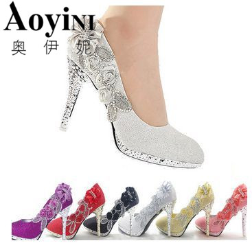 Wedding Shoes Glitter Gorgeous Bridal Evening Party Crystal High Heels Women Shoes Sexy Woman Pumps silver Bridal Shoes 6 color women s fashion gold lace dinner evening party pumps shoes plus sizes low high heels custom made bridal wedding shoes