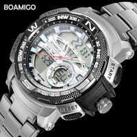 BOAMIGO Brand Watches Men Sports Quartz Watches Steel Digital Wrist Watch Men's Chronograph Auto Date Clock Relogio Masculino