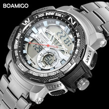 BOAMIGO Marke Uhren Männer Sport Quarz Uhren Stahl Digitale Armbanduhr männer Chronograph Auto Datum Uhr Relogio Masculino