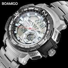 Marka boamigo zegarki mężczyźni sport zegarki kwarcowe stalowy zegarek cyfrowy nadgarstek męski chronograf zegar z automatyczną datą Relogio Masculino