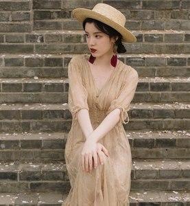 Image 3 - Fransız Vintage viktorya dönemi tarzı elbise Zarif Yarım Kollu Düğme V Yaka Uzun Yaz Bayan Elbise Parti Vestidos De Festa