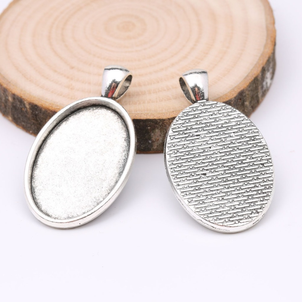 reidgaller 5pcs 20x30mm oval cabochon base settings antique silver blank pendant tray bezel diy jewelry components