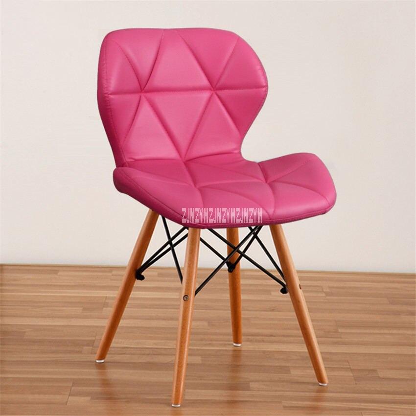 Деревянный стул для отдыха, современный креативный стул для гостиной, простой бытовой обеденный стул для кофе, офисное компьютерное кресло с спинкой - Цвет: H