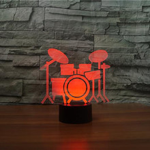 Bedroom Office Home Decoration 7 Colorful USB 3D LED Drum rack shape Night Light Touch sensor Desk Table Lamp kid Christmas Gift(China)
