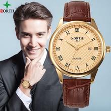 NORTH Fashion Watch Men Quartz Mens Watches Top Brand Luxury Gold Waterproof Leather Clock Business Wristwatch Rolex_watch