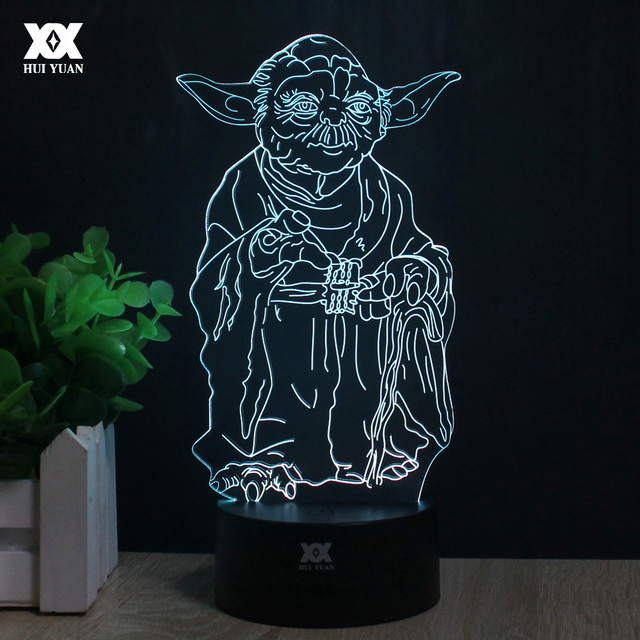 Master Yoda 3D Lamp Remote Control Night Light LED Decorative Table Lamp USB 7 Colors Changing Child's Gift HUI YUAN Brand