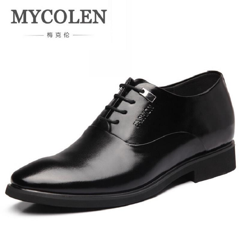 MYCOLEN New Men's Lace-Up Oxfords Dress Shoes Mens Leather Business Office Wedding Flats Man Party Shoes Invisible Increase mycolen mens shoes round toe dress glossy wedding shoes patent leather luxury brand oxfords shoes black business footwear