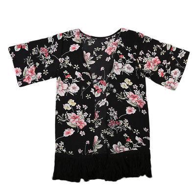 Trẻ Em mùa hè Toddler Trẻ Em Cô Gái Mỏng Floral Tassel Cardigan Sunsuit Trang Phục Bìa Kimono Dài Tay Áo Quần Áo