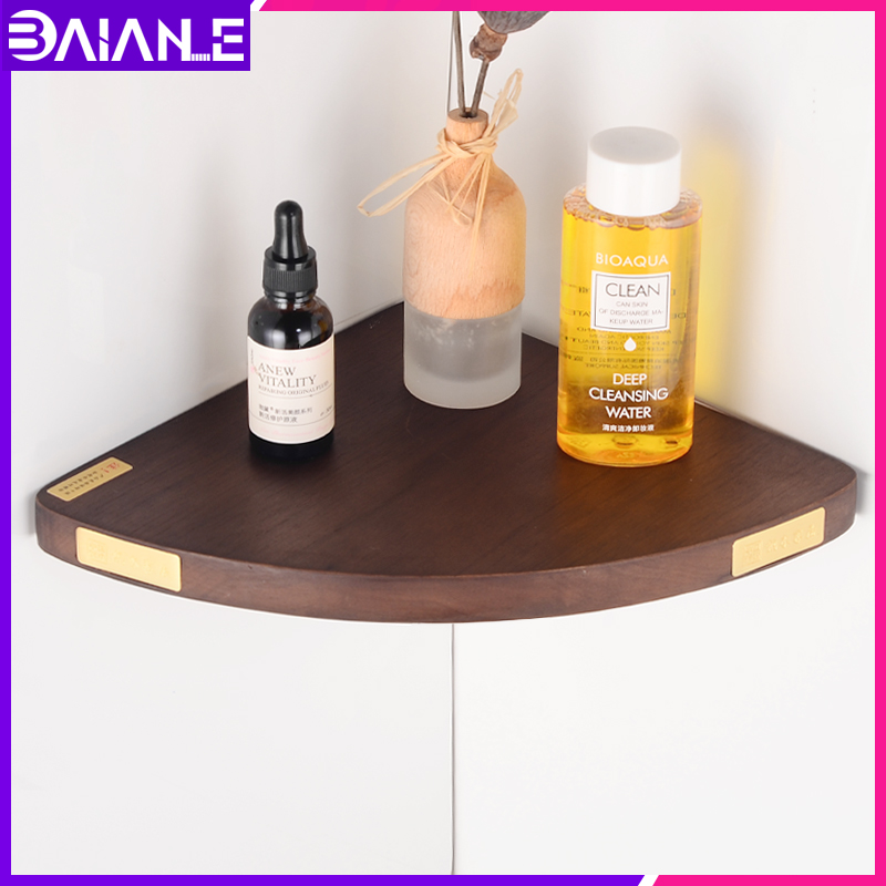 Bathroom Shelf Organizer Wood Brass Wall Mounted Corner Storage Holder Shelves Bathroom Accessoriess Shower Caddy Shampoo Rack