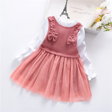 Girls Dress 2019 autumn Winter Dresses Children Clothing Princess Pink Long Sleeve Wool Bow Design Kids Clothes