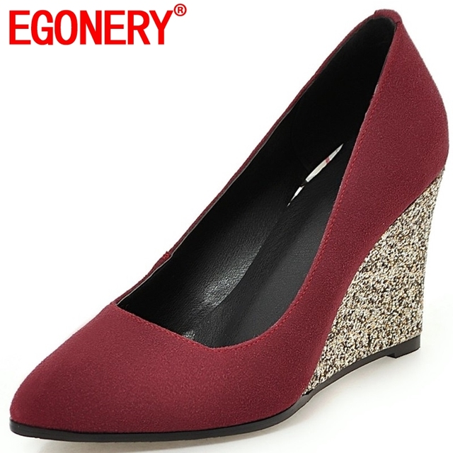 EGONERY tacchi donna di arrivo cunei maturo comodo super tacchi alti vera pelle opaca punta a punta primavera di carriera delle donne scarpe