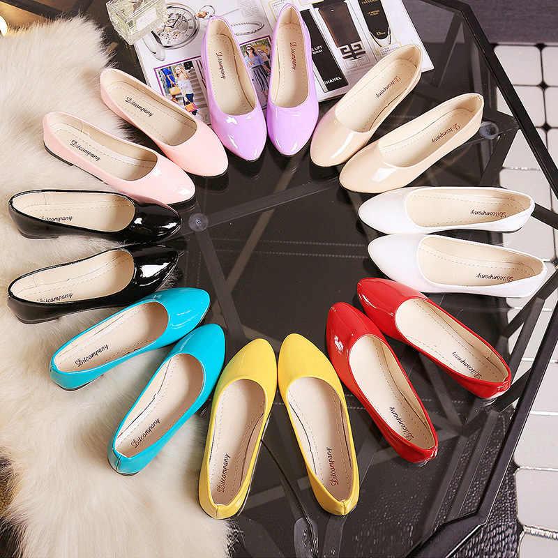 PU patent deri ayakkabı kadın tek ayakkabı sığ yuvarlak çekici İlkbahar sonbahar bale daireler ayakkabı sözleşmeli büyük boy 35-42
