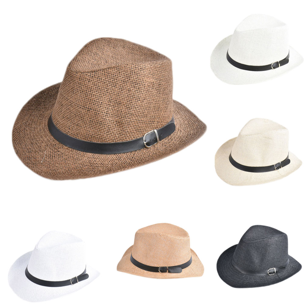8a1f71e1c83 Unisex Men Women Straw Hat Cowboy Cap Summer Beach Travel Sunhat with Black  Belt band-in Sun Hats from Apparel Accessories on Aliexpress.com