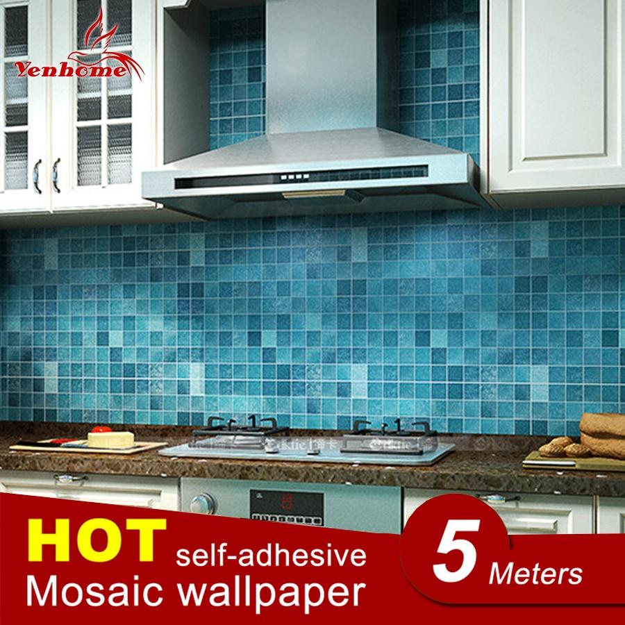 € 10.92 30% de réduction|5 M PVC mur autocollant salle de bains étanche  auto adhésif papier peint cuisine mur papier mosaïque carrelage ...