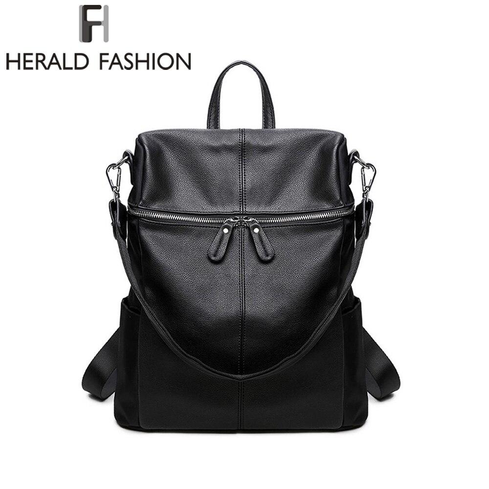 Herald Fashion Soft PU Leather Backpack Female Vintage Casual Backpacks Travel Backpack Shoulder Bag Backpack to