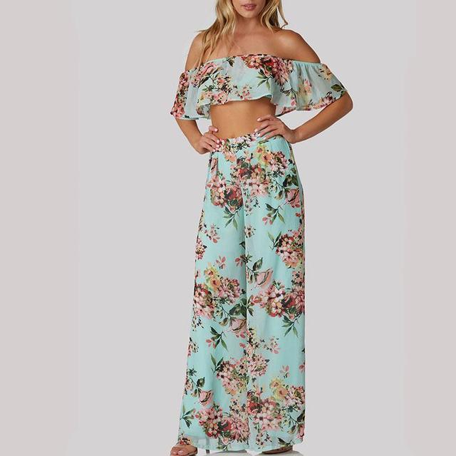 花印刷フラウクロップトップとワイド脚パンツセット女性のための夏弾性ウエストスラッシュネックフリルロング丈パンツ