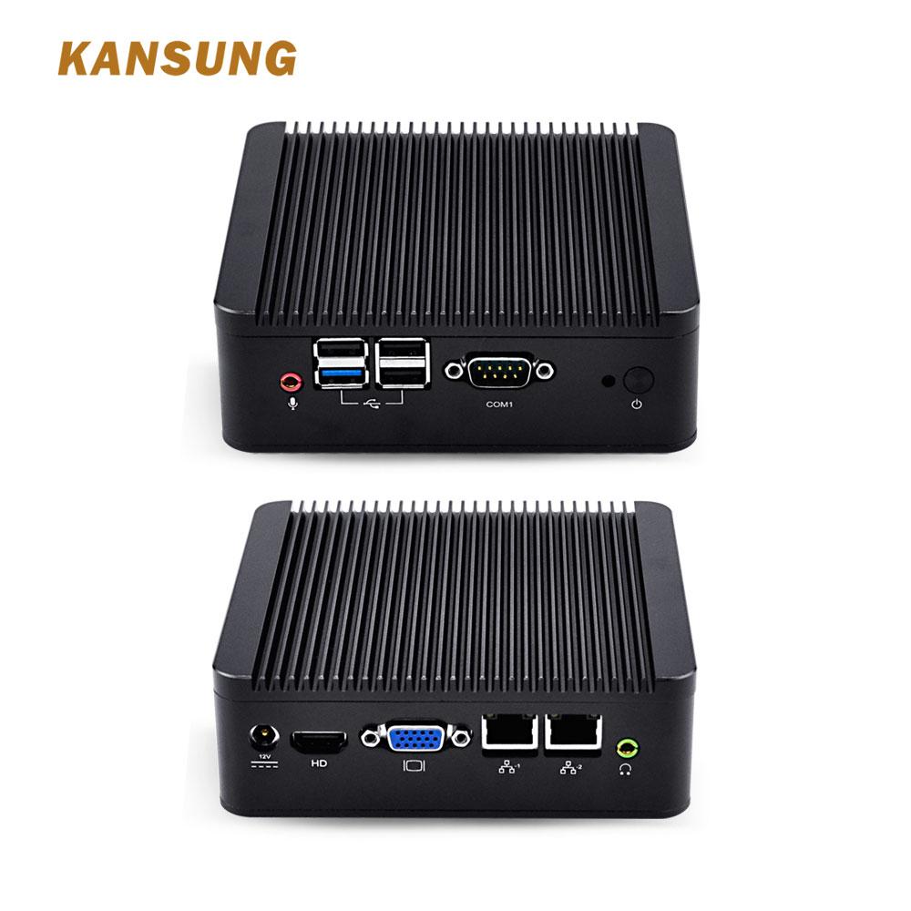 KANSUNG Fanless Office Micro PC Computer Nuc Celeron J1900 CPU 2 Gigabit Lan Win 7 pfSense Ubuntu Linux Nettop Mini PC