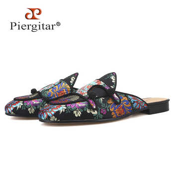 Piergitar 2019 New flower pattern men silk mules for parties and banquet handmade men's slippers leather insole plus size - DISCOUNT ITEM  0% OFF All Category