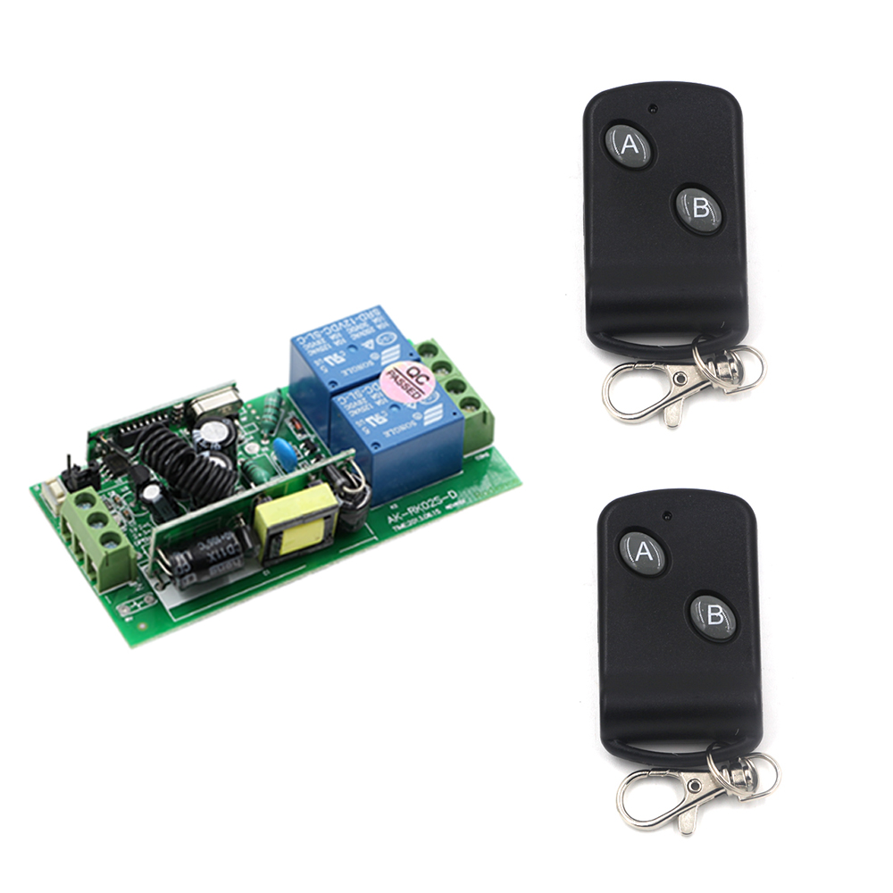 AC 85-250 V 10A 2 CH RF Wireless Remote Control Switch System Receiver Board and Two Button Transmitter 315/433mhz wireless pager system 433 92mhz wireless restaurant table buzzer with monitor and watch receiver 3 display 42 call button