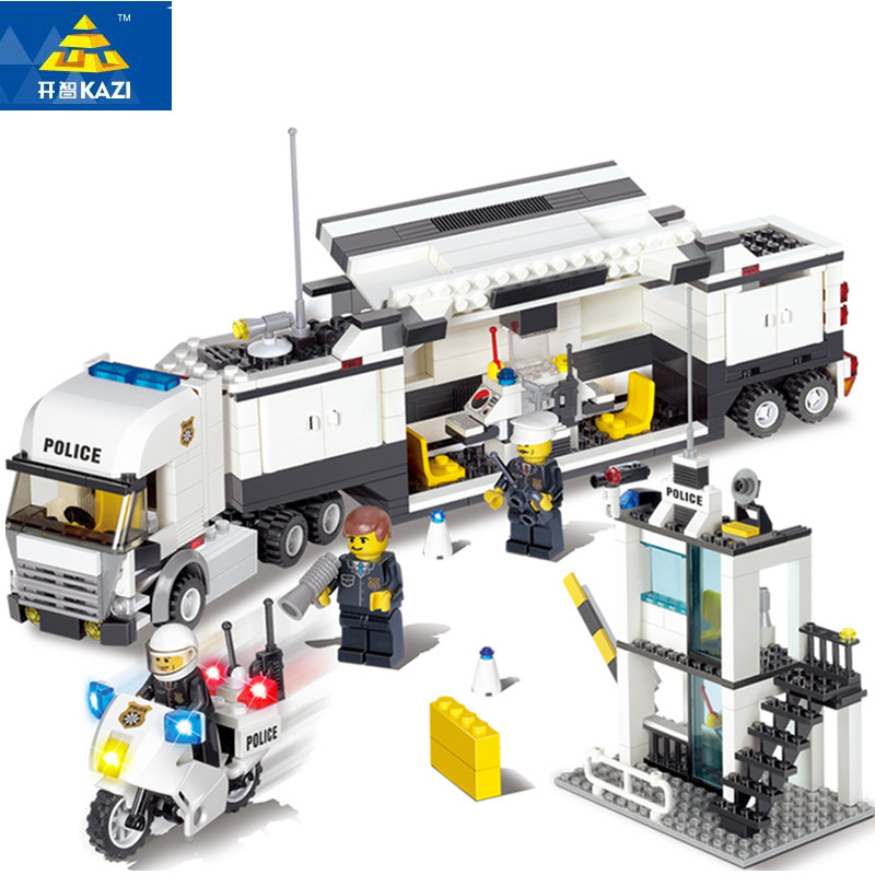 KAZI  Police Station Building Blocks Bricks Educational Toys Compatible with all brand city Birthday Gift Toy Brinquedos lepin 02012 city deepwater exploration vessel 60095 building blocks policeman toys children compatible with lego gift kid sets