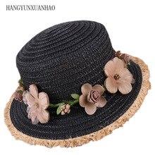 2018 new Summer Fashion Sun Hats For Women Flower Floral Seaside Short Eaves Raffia Straw Hat Girls Flat top