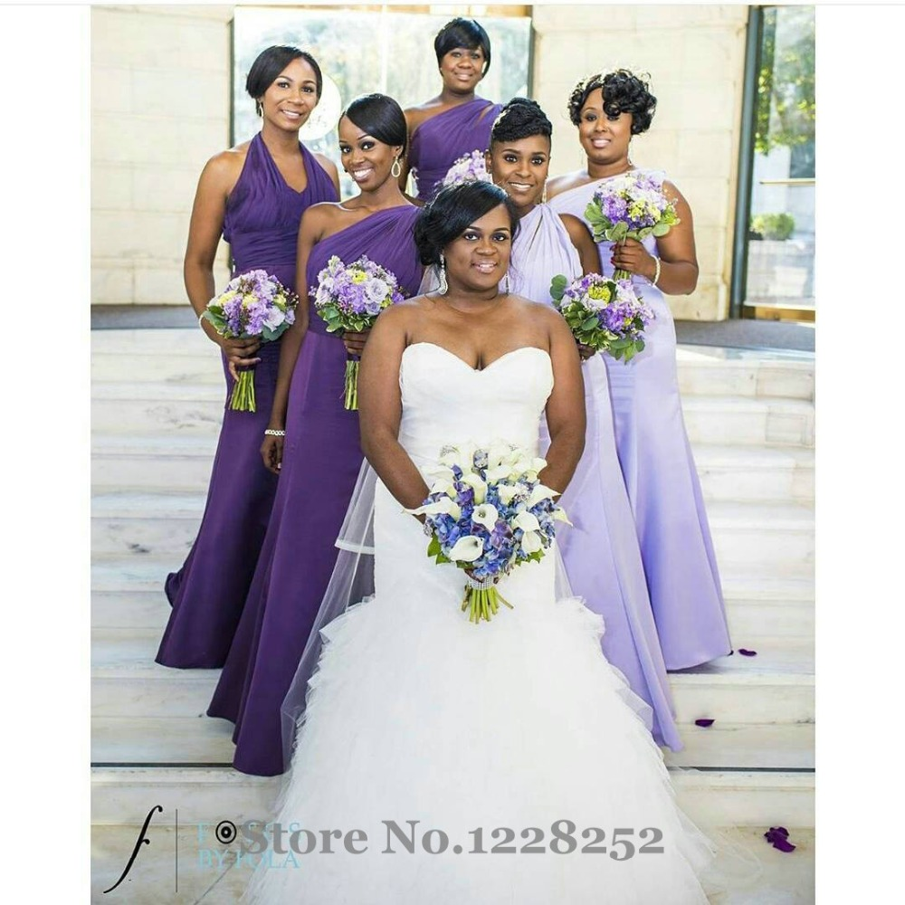 One shoulder lilac bridesmaid dresses draped chiffon satin purple one shoulder lilac bridesmaid dresses draped chiffon satin purple dama de honra floor length mermaid wedding party dress in bridesmaid dresses from weddings ombrellifo Images