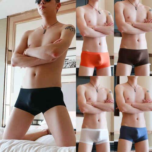 סקסי חלקה מתאגרף גברים תחתונים שקוף גזעי הבליטה גברים של מכנסיים קצרים Cuecas תחתונים
