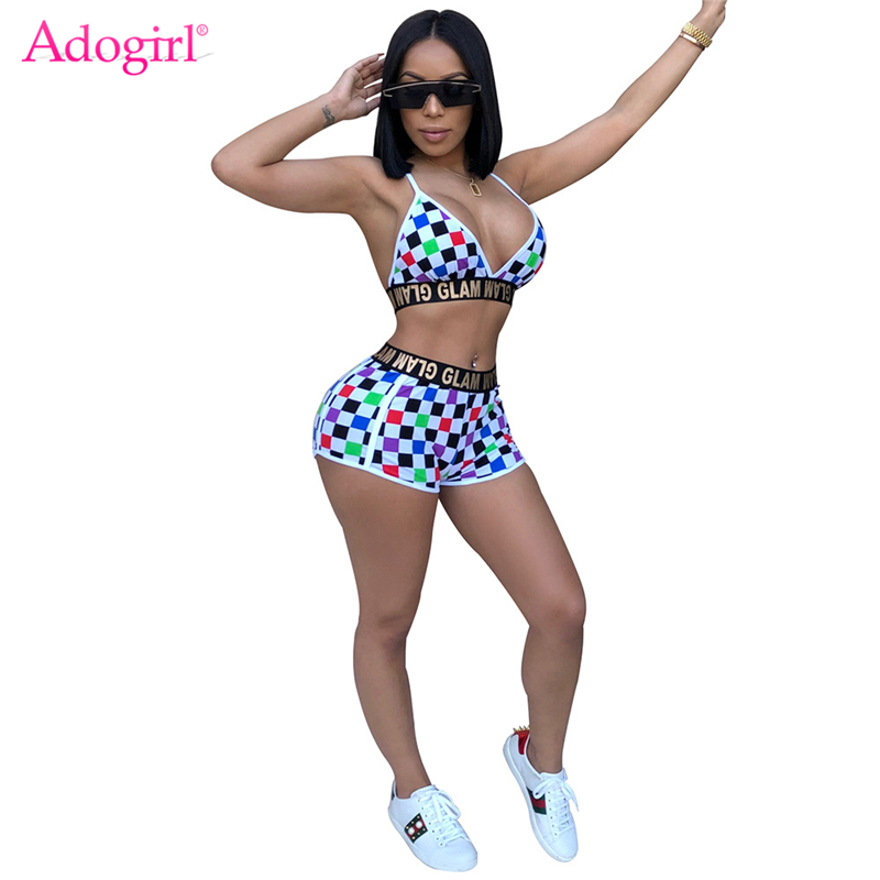 Adogirl Glam Letters Colorful Plaid Print Women Tracksuits Sexy V Neck Spaghetti Straps Bra Top And Shorts Fitness Suit Clubwear