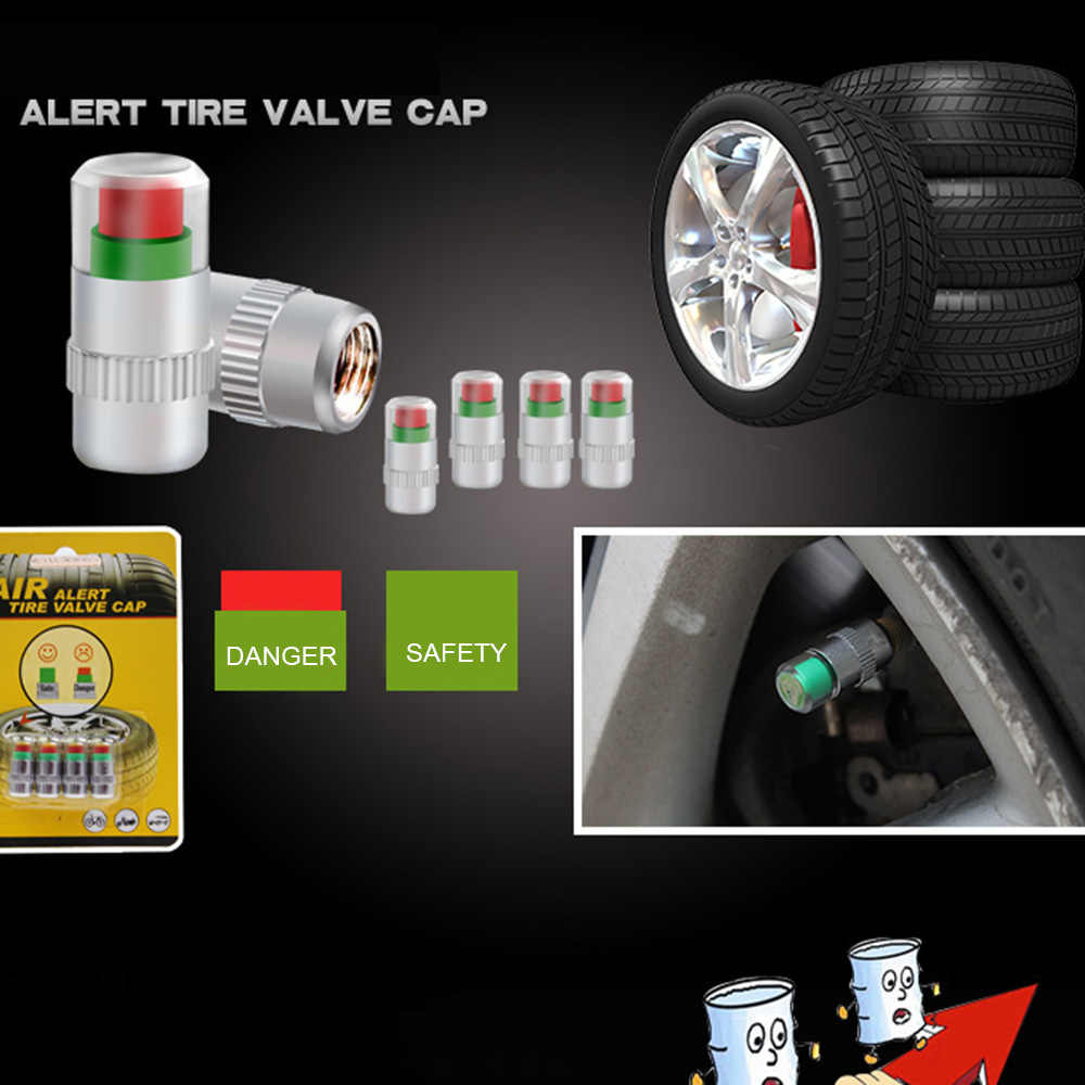 4pcs Car Auto Tire Tire Pressure Monitor Gage Alarm Alert Sensor Valve Indicator Caps Tire Accessories