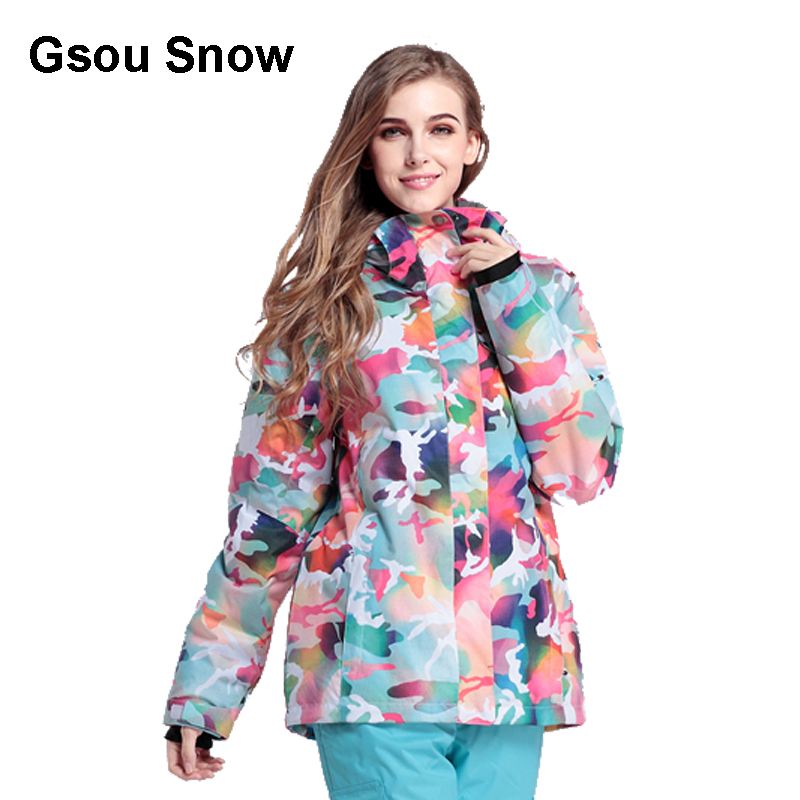 купить Gsou Snow Women Ski Suit Waterproof Snowboard Jacket Windproof Warm Colorful Sport Winter Coat онлайн
