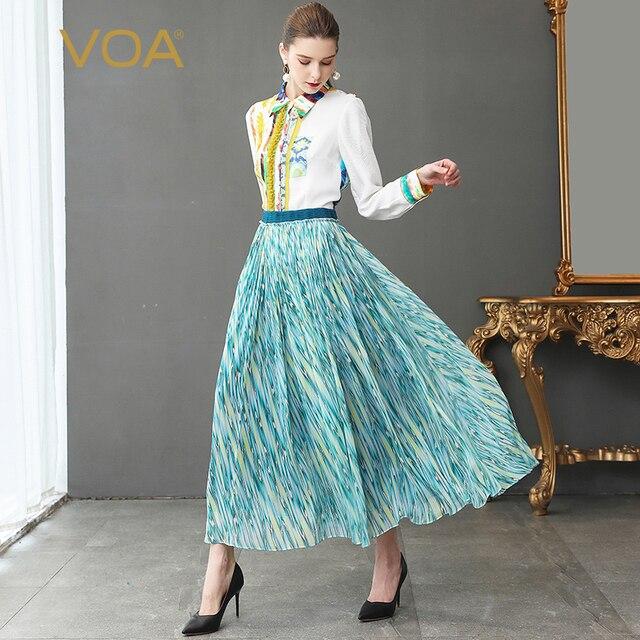 6cdd534677d9 VOA Runway Silk Georgette Long Swing Skirts Women Plus Size 5XL A Line  Skirt Sky Blue High Waist Casual Ladies Clothes Fall C352