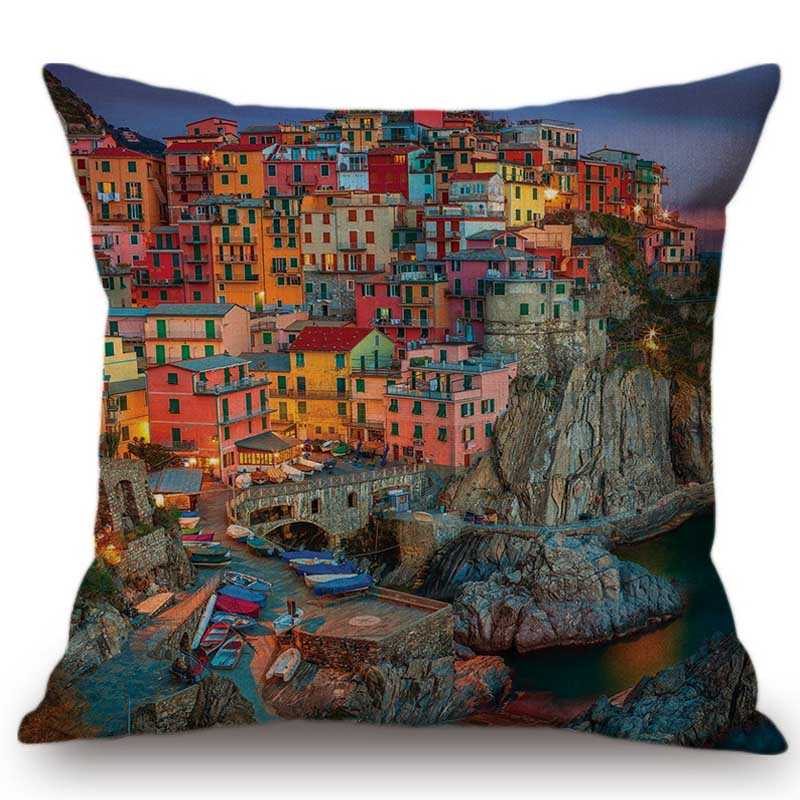 Paris Venice London Scenery Home Decor Sofa Cushion Cover France Italy UK Europe Landscase Salon Hotel Cotton Linen Pillow Case