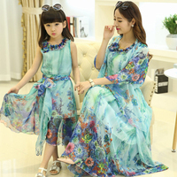 Fashion Mother Daughter Dresses Family Matching Clothes Outfits Summer Girls Mummy Bohemian Long Dress With Belt