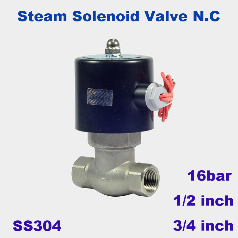 16bar High Temperature 2 Way Water Steam Solenoid Valve For Hot Water 1/2 3/4 Orifice 17mm Us-15/20 Normal Close Stainless Valve
