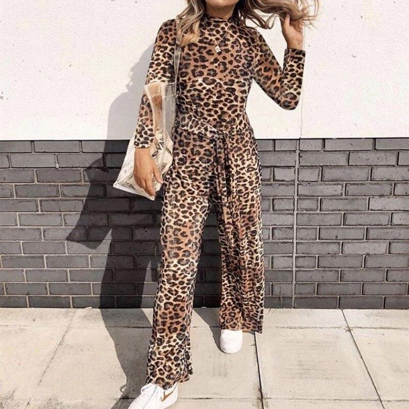 US Womens Leopard Print Long Sleeve Jumpsuit Romper High Neck Bodysuit Playsuit