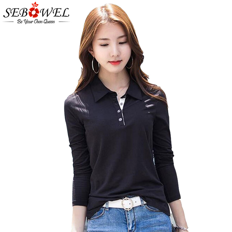 SEBOWEL Women's Long-sleeved Polo Shirt Autumn Spring 2019 Fashion Cotton Plus Size Female Solid Polos Bottom Lapel Shirts Tops