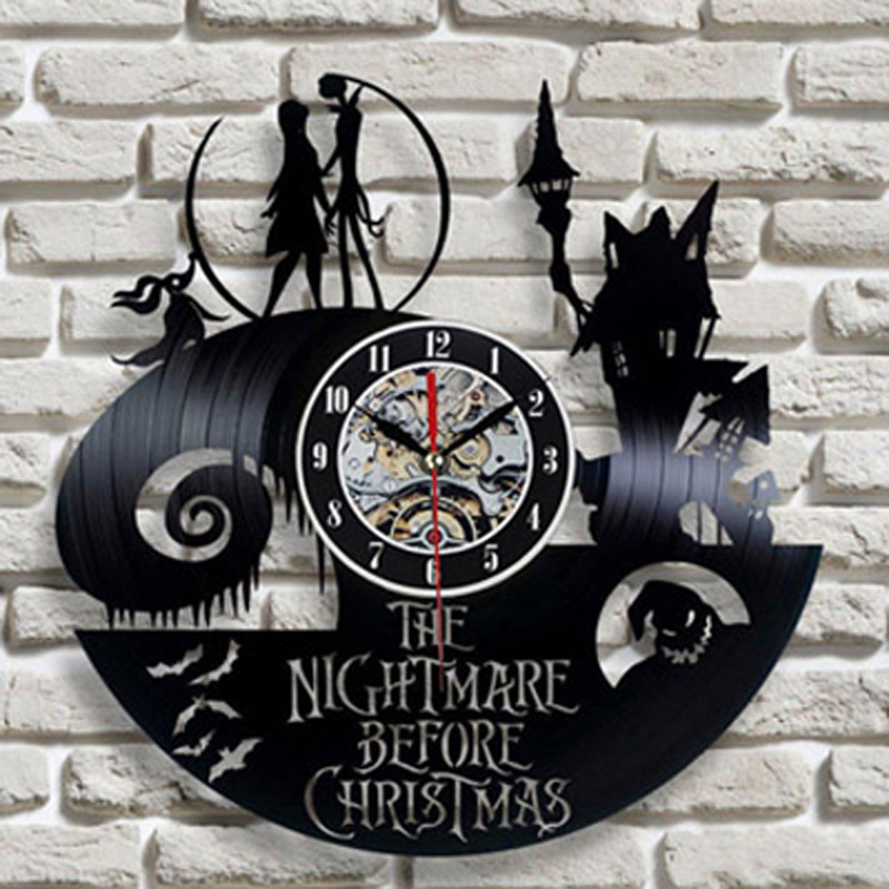 Vinyl Record Wall Clock Modern Design Living Room Decoration The Nightmare Before Christmas Hanging Clocks Wall Watch Home Decor