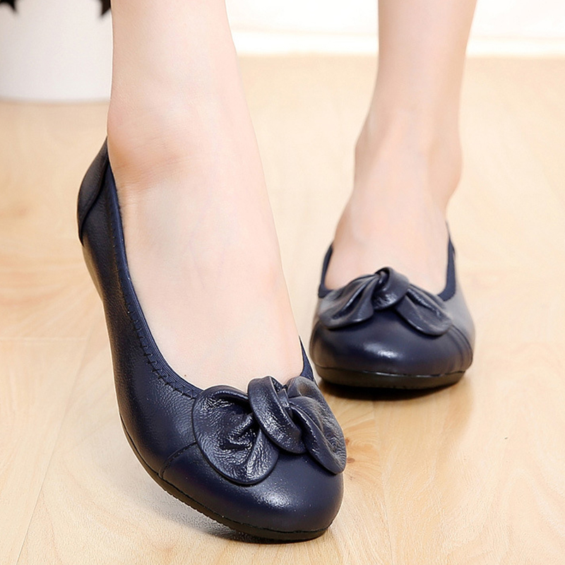 2018 Genuine   Leather   Mother Ballet Flats New Handmade Shoes Women Loafers Soft Moccasins Women Slipony Flats Shoes Zapatos Mujer