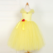 Beauty and The Beast 2017 Children Clothing Birthday Halloween Girls Yellow Party Tutu Tulle Gowns Baby Princess Belle Dress