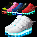 25-37 tamaño/cesta de carga usb led niños shoes con luz up kids boys & girls casual luminoso zapatillas de deporte de zapatos brillantes enfant