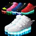 25-37 tamanho/cesta de carregamento usb led crianças shoes com light up casual crianças meninos & meninas luminosas tênis sapato brilhando enfant